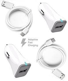 Samsung+Galaxy+S8+/+S8+Edge+Charger!+Adaptive+Fast+Charger+Type-C+Cable+{2+Car+Chargers+++2+Type-C+Cables}+True+Digital+Adaptive+Fast+Charging+uses+dual+voltages+for+up+to+50%+faster+charging!