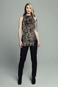 MAISON CYMA - L'Intelligente // Diamond velvet top with removable recycled silver fox panel #fashion #readytowear #recycledfur #fur #ootd #designer #fallfashion #clothes #clothing