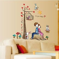 Cute Sweet Lover Cartoon Tree With Bird Cage Removable Wall Stickers For Bedroom