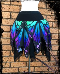 Butterfly Wing Mini Pixie Skirt, Size 3XL - 4XL - Ready to Ship - Gothic Festival Rave Pagan Wicca Wedding Handfasting Monarch Nature Plus