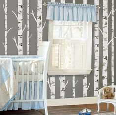 Create your own birch tree inspired nursery with birch tree wall stickers.