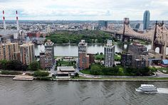 Aerial view of Roosevelt Island formally known as Blackwell Island..and where Nellie Bly got herself committed to expose the horrors of the asylum.