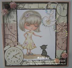 Mine Prosjekter: Girl with a kitten Digital Stamps, Homemade Cards, Paper Crafting, Kitten, Card Making, Create, Anime, Blog, Handmade
