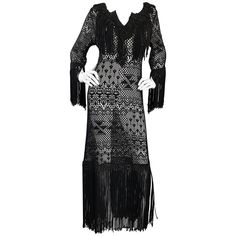 Amazing 1970s Black Hand Crochet Fringe 70s Vintage Embrodiered Boho Maxi Dress | From a collection of rare vintage maxi-dress at https://www.1stdibs.com/fashion/clothing/evening-dresses/maxi-dress/