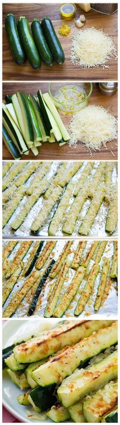 Looks yummy! Garlic Lemon and Parmesan Oven Roasted Zucchini - Cooking Classy Oven Roasted Zucchini, Roast Zucchini, Zucchini Fries, Lemon Zucchini, Roasted Garlic, Oven Roasted Vegetables, Zucchini Cheese, How To Cook Zucchini, Eating Vegetables
