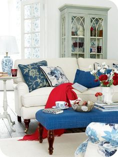 Red, White & Blue French country style patriotic home decor for the living room