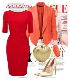 """""""Red dress"""" by malica ❤ liked on Polyvore featuring Envi, LE3NO, Whiting & Davis, Gianvito Rossi, Kenneth Jay Lane, women's clothing, women, female, woman and misses"""
