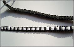 Taśma ozdobna z białą, sztuczną skórą - 10mm, Pasmanteria Ozdobna