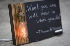 Edison lamp Memo Chalkboard with dimmer by TwinsWoodCompany