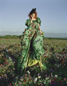 Pantone's colour of the year 2017 is GREENERY! Take it onboard and shine! #green Karen Elson - Tim Walker - December 2008 issue