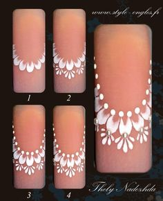 Uñas toda ocasión Lace Nail Art, Lace Nails, 3d Nail Art, 3d Nails, Flower Nails, Cool Nail Art, Nail Arts, Bridal Nails, Wedding Nails