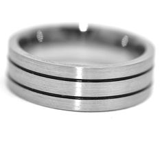 Gents, Titanium, 8.0 mm wide, comfort fit, grooved ridges, with satin finish.Classic look . # w050606  #gentsband #weddingband #titanium #tiband #menring  www.windycitydiamonds.com