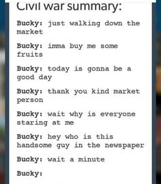 Bucky Barnes in Civil War, a summary. Funny Marvel Memes, Avengers Memes, Marvel Jokes, Marvel Dc Comics, Marvel Avengers, I Understood That Reference, Geeks, Dc Movies, The Villain