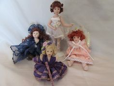 Vintage Lot of Miniature Porcelain Ballerina, Sitting, and Moveable Dolls