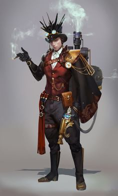 new ideas for steampunk concept art people Arte Steampunk, Steampunk Artwork, Steampunk Men, Victorian Steampunk, Steampunk Costume, Steampunk Fashion, Steampunk Characters, Dnd Characters, Fantasy Characters