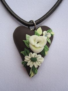 Brown Polymer Clay Heart with Cream Flowers
