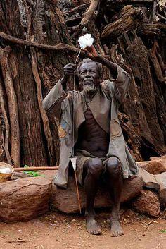 Old Man 1 Spinning, Konso, Ethiopia   Old man spinning cotton, Konso, southern Ethiopia