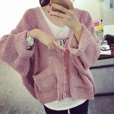 2015 весна вырез свободный Большой размер верхняя одежда сплошной цвет битой свитер женский кардиган свитера рукава летучая мышь мода свитера