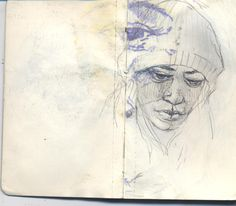 can't stop pinning this artist! Gesso wash, series of movemements, facial features study