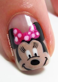 Disney Minnie Mouse nail art!! Can't wait to do for my next trip to the happiest place on earth :)))