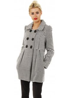 7f24867627f Super cute pretty coat by Stella Morgan. Short tunic style black & white  coat with chunky button detail, double breasted and big collar.