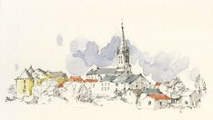 Pen And Watercolor, Watercolor Landscape, Watercolor Paintings, Watercolours, Town Drawing, Building Painting, Watercolor Architecture, Artist Journal, Landscape Drawings