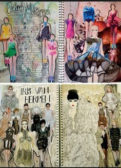 These sketchbook pages are the unequivocal result of effort, passion and enthusi. - Freckle , These sketchbook pages are the unequivocal result of effort, passion and enthusi. These sketchbook pages are the unequivocal result of effort, passi. Sketchbook Layout, Arte Sketchbook, Sketchbook Pages, Sketchbook Inspiration, Sketchbook Ideas, A Level Textiles Sketchbook, Fashion Design Inspiration, Fashion Design Sketches, Fashion Designers