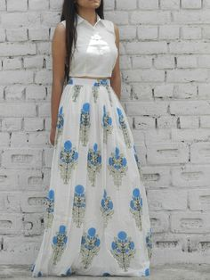 Blue hibiscus crop top set - own this smart piece @ Lehenga Designs Simple, Long Skirt And Top, Crop Top Designs, Blue Hibiscus, Crop Top Set, Long Skirt Outfits, Lehenga Style, Western Dresses, Western Wear
