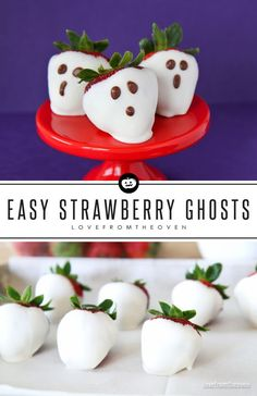 Easy Chocolate Dipped Strawberry Ghosts For Halloween. So easy and SO good! Can't wait to make these for our Halloween party, love an easy Halloween treat!