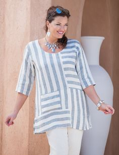 Kasbah charcoal/cream linen stripe top Women Big Size Clothes - http://amzn.to/2ix7dK5