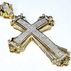 "Gold Cross Charm 2.5"" Tall 1.75ct Real Diamonds 10K Yellow Gold Mens big Pendant"