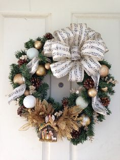 Nativity wreath! Sisterdecor.etsy.com Can be changed up with Christmas bells also!  74.99 plus shipping. Get a one of a kind wreath for 1/2 what stores charge!  Sisterdecor.etsy.com