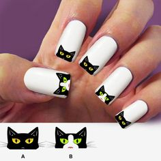 Black cat nail decalnail art 60 nail decals Nail by Marziaforever Cat Nail Art, Funky Nail Art, Animal Nail Art, Cat Nails, Funky Nails, Cute Halloween Nails, Halloween Acrylic Nails, Ongles Funky, Cat Nail Designs