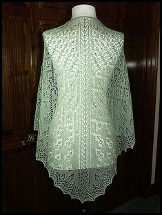 """Aerten"" beaded knit lace shawl in wool/silk lace weight yarn (pattern by Renee Leverington)"