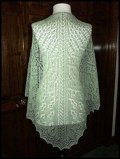 """""""Aerten"""" beaded knit lace shawl in wool/silk lace weight yarn (pattern by Renee Leverington)"""