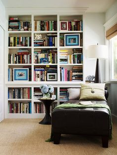 This large built-in bookcase found a home in an unused corner of a master bedroom. A chaise longue completes the space to create a cozy reading nook. Remodeling Projects, Home Libraries, Home, Interior, Storage Solutions Bedroom, Small Remodel, Corner Bookshelves, Home Decor, Bookshelf Design