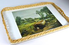 Vintage Wicker Wooden Tray Vintage Serving Vintage Afternoon Tea Boat Building near Flatford Mill John Constable by FillyGumbo Cool Boats, Small Boats, Wooden Boat Building, Build Your Own Boat, Baseboards, Boat Plans, Unusual Gifts, Afternoon Tea, Wicker