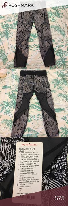 Lululemon Goal Crusher 7/8 Tight Size 8 super cute pattern, having a hard time letting go of these lol. Mesh detail and side pockets. Open to offers! Pants Leggings