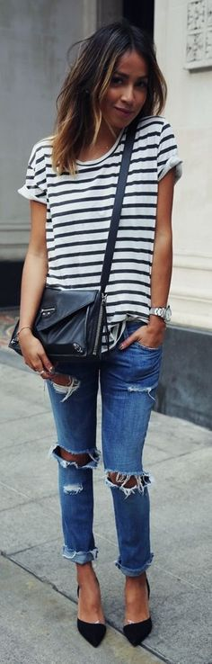 Love the stripes, the cut of the tee, the destroyed denim (but not the cuffs) and the bag!