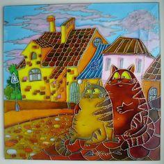 """Gallery.ru / Часы """"Коты на крыше"""" 25*25 см. - Часы - enehi"""