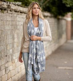 Cashmere Star Scarf - Pale Storm