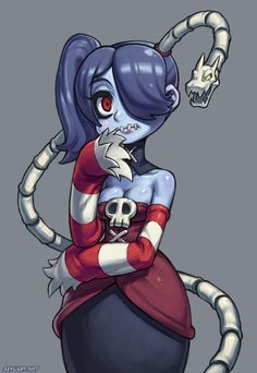 Skullgirls - Squigly by Speeh on DeviantArt Cute Zombie, Zombie Girl, Skullgirls, Character Design References, Game Character, Gurren Laggan, Amazing Drawings, Cartoon Games, Fighting Games