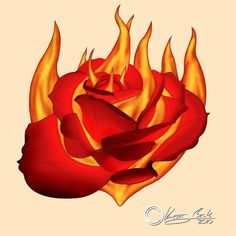 Fire Rose Tattoo Burning Rose Tattoo Design by