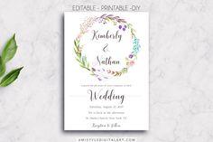 Printable Wedding InvitationFloral Wreath Editable PDF