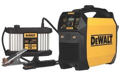 DeWalt introduces its first Portable Stick & TIG Welder which can be operated in cordless mode or plugged into a 20 Amp circuit or generator. Everlast Welders, Portable Welder, Mechanic Tool Box, Homemade Lathe, Welding Design, Tig Welder, Trailer Storage, Dewalt Tools, Garage Tools
