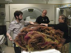 """Charles James """"Swan""""    To understand the Swan, the CHM took the dress to Children's Memorial Hospital and performed a CT scan, using equipment normally used to examine ancient mummies.    Chicago History Museum"""