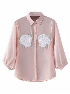 Pink Pearl Embellished Shell Patch 3/4 Sleeve Chiffon Shirt