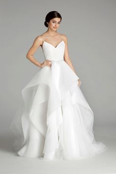 Layered tulle ball gown designer wedding dress