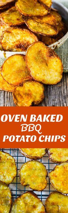 Oven Baked BBQ Potato Chips #vegan #glutenfreerecipes #homemaderecipes #potatochips