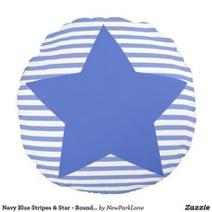 Navy Blue Stripes & Star - Round Pillow